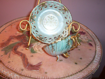 Green Footed Cup & Saucer