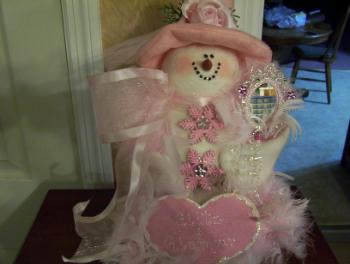 Pink Glitzy Snowlady