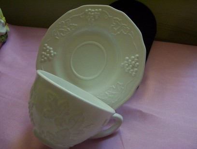 Milk Glass Cup & Saucer