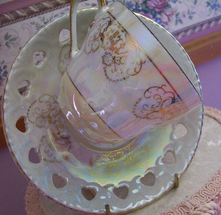 Irredesent White Cup & Saucer